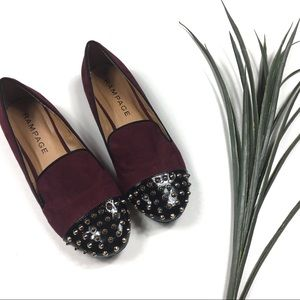 Rampage Burgundy Flats with Stud Detailing